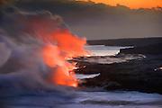 Lava into ocean, HVNP, Kilauea Volcano, Island of Hawaii