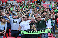Forest Green Rovers fans after going ahead during the Vanarama National League Play Off Final match between Tranmere Rovers and Forest Green Rovers at Wembley Stadium, London, England on 14 May 2017. Photo by Shane Healey.