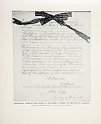"""State of Louisiana Resolution welcoming ex-President Grant to the State. from The American Civil War book and Grant album : """"art immortelles"""" : a portfolio of half-tone reproductions from rare and costly photographs designed to perpetuate the memory of General Ulysses S. Grant, depicting scenes and incidents in connection with the Civil War Published  in Boston and New York by W. H. Allen in 1894"""