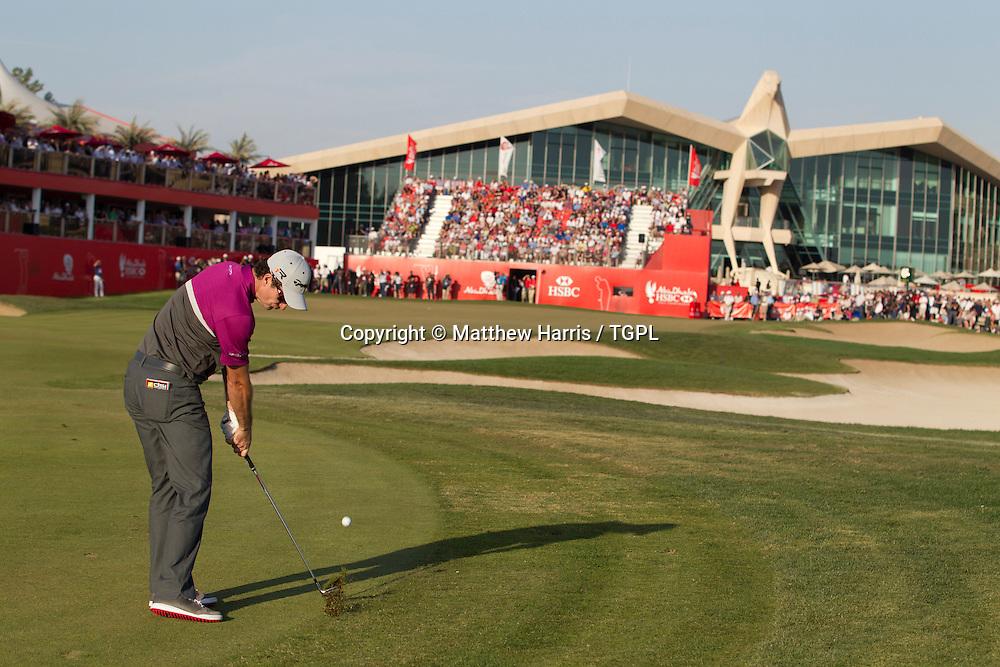 Justin ROSE (ENG) during fourth round,Abu Dhabi HSBC Championship 2013,Abu Dhabi Golf Club,Abu Dhabi,20th January 2013.Third shot to 18th par 5.