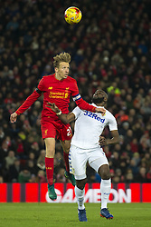 Halbfinale im Liga-Pokal Liverpool vs Leeds 1:0 in Liverpool / 291116<br /> <br /> ***LIVERPOOL, ENGLAND 29TH NOVEMBER 2016:<br /> Liverpool midfielder Lucas Leiva left fights for the ball against Leeds United forward Souleymane Doukara  during the English League Cup soccer match between Liverpool and Leeds at Anfield Stadium in Liverpool England November 29th 2016***