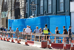 © Licensed to London News Pictures. 20/04/2018. Salisbury, UK. New barriers and fences have been erected at Zizzi's restaurant as a cleanup operation begins in Salisbury. Former Russian Spy Sergei Skripal and his daughter Yulia were poisoned using a nerve agent in the city last month. Experts have warned that 'Toxic levels' of the nerve agent novichok could still be present at hot spots around the city. Photo credit: Peter Macdiarmid/LNP