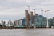 Construction work taking place on the Greenwich Peninsula on the River Thames bank in London, England on September 14, 2018.