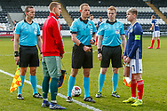 Team Captains Aleksandr Alekseev (C) & Connor Smith (C)(Heart of Midlothian) face off on the half way line for the coin toss ahead of the U17 European Championships match between Scotland and Russia at Simple Digital Arena, Paisley, Scotland on 23 March 2019.