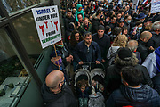London, United Kingdom, May 23, 2021: People holding pro-Israeli banners and placards as well as Israeli flags are gathered at a Rally outside the Israeli Embassy in Kensington central London in solidarity with Israel on Sunday, May 23, 2021. <br /> After 11 days of fighting, Israel and the Palestinian militant group Hamas have agreed to a ceasefire. (Photo by Vudi Xhymshiti)