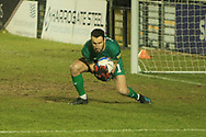 Harrogate keeper James Belshaw collects a cross during the EFL Sky Bet League 2 match between Harrogate Town and Exeter City at the EnviroVent Stadium, Harrogate, United Kingdom on 19 January 2021.