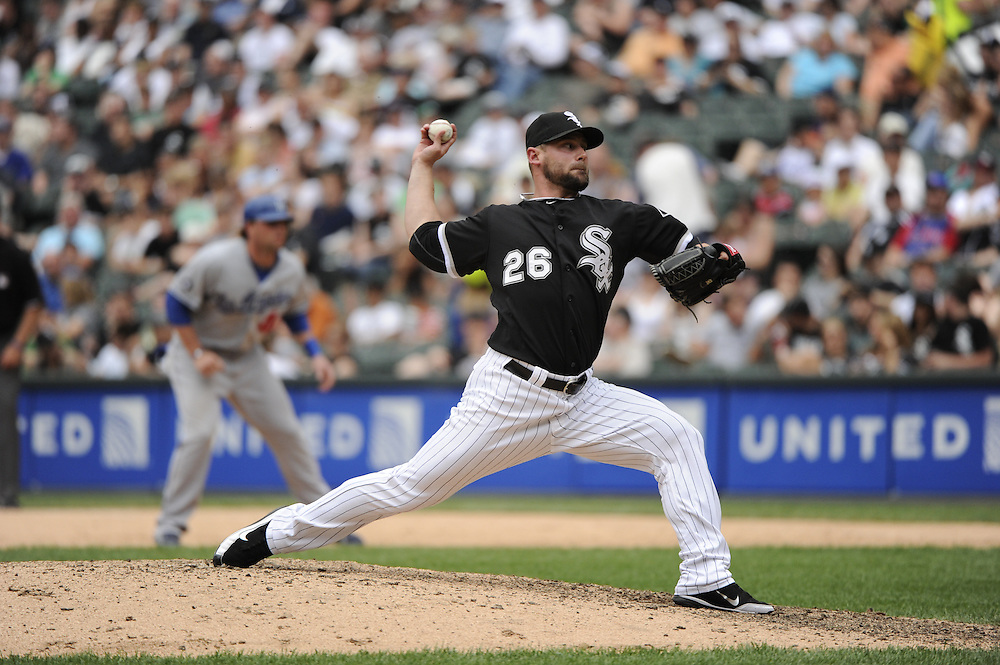 CHICAGO - MAY 22:  Jesse Crain #26 of the Chicago White Sox pitches against the Los Angeles Dodgers on May 22, 2011 at U.S. Cellular Field in Chicago, Illinois.  The White Sox defeated the Dodgers 8-3.  (Photo by Ron Vesely)  Subject:   Jesse Crain