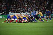 France scrum during the Rugby World Cup Pool D match between France and Romania at the Queen Elizabeth II Olympic Park, London, United Kingdom on 23 September 2015. Photo by Matthew Redman.