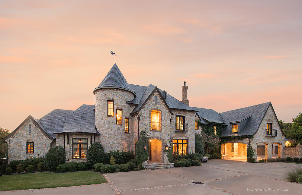 Front exterior of a high end luxury mansion home. Dallas Texas, Highland Park, Southlake Architectural photographer