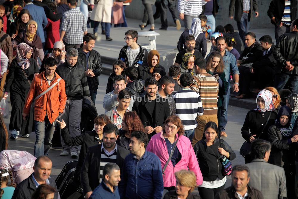 street scene with crowd Istanbul Turkey