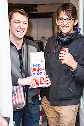 The first customers of popcorn store 'YummyPop' in the Marais district on its opening day, in Paris, France on October 22, 2016. Hollywood actress Scarlett Johansson opened together with her French husband, advertising executive Romain Dauriac, her own gourmet popcorn store, selling treats includingpopcornflavoured with Vermont cheddar, truffle, parmesan and sage. Photo by ABACAPRESS.COM