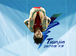 Aug. 25, 2017 -Tianjin, China -ZHANG MINJIE of Shanghai competes during the women's 10m platform final of Diving at the 13th Chinese National Games in north China's Tianjin Municipality. Minjie took the second place with 396.15 points. (Credit Image: © Ding Xu/Xinhua via ZUMA Wire)
