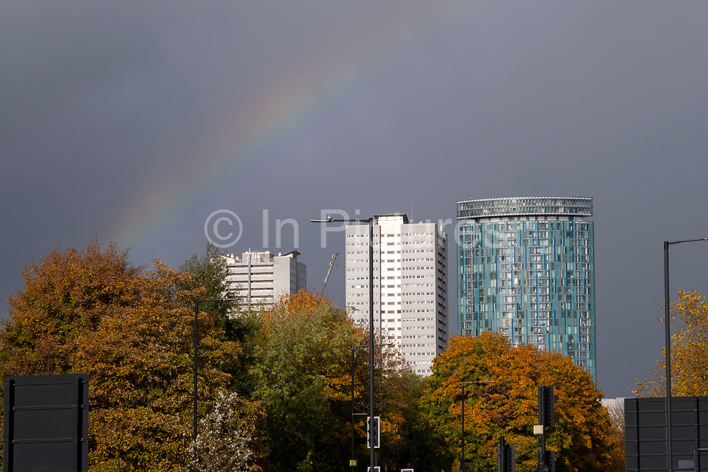 Rainbow over the Radisson Hotel In Birmingham on 26th October 2020 in Birmingham, United Kingdom. Radisson Hotels is an international hotel chain headquartered in the United States and owned by Jin Jiang International Holdings Co. (photo by Mike Kemp/In Pictures via Getty Images)