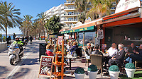 Promenade, paseo maritimo, restaurants, alfresco dining, apartments, holidays, tourism, leisure, travel, Marbella, Malaga Province, Spain, Espana, February, 2015, 201502050378<br />