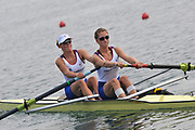 Shunyi, CHINA. GBR W2-, Bow Louisa REEVE and Olivia WHITLAM move away from the start of there heat of the women's pair, at the 2008 Olympic Regatta,  Saturday, 09.08.2008  [Mandatory Credit: Peter SPURRIER, Intersport Images]