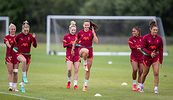 WALLASEY, ENGLAND - Wednesday, July 28, 2021: Liverpool's (L-R) Melissa Lawley, Leighanne Robe and Jade Bailey during a training session at The Campus as the team prepare for the start of the new 2021/22 season. (Pic by David Rawcliffe/Propaganda)