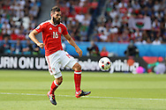 Joe Ledley of Wales in action.UEFA Euro 2016, last 16 , Wales v Northern Ireland at the Parc des Princes in Paris, France on Saturday 25th June 2016, pic by  Andrew Orchard, Andrew Orchard sports photography.