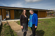 Saskya Huggins and Barbara Hammond, CEO of Low Carbon Hub in front of Osney Lock hydro, the first hydro scheme to be built on the river Thames. Low Carbon Hub, Oxford. A community energy hub developing community owned renewable energy projects across Oxfordshire.  ALL publication MUST include the credit © Andrew Aitchison / ASHDEN.