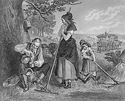 Summer Harvest family working the fields Steel engraving from Godey's Lady's Book and Magazine, Vol 101 July to December 1880 in Philadelphia