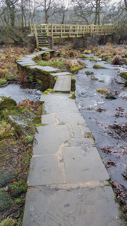 Stepping stones to the bridge over the River Derwent can flood easily in winter!