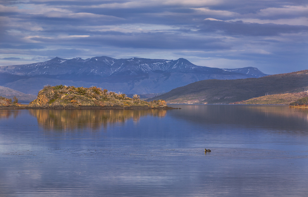 A quiet moment on a peaceful lake in Torres del Paine National Park in Chilean Patagonia.