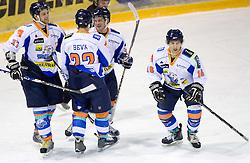 Domen Jemec, Metod Bevk, Dejan Zemva and Milan Hafner of Triglav celebrate at SLOHOKEJ league ice hockey match between HK Slavija and HK Triglav Kranj, on February 3, 2010 in Arena Zalog, Ljubljana, Slovenia. Triglaw won 4:1. (Photo by Vid Ponikvar / Sportida)