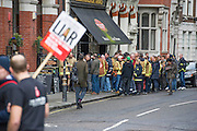 Many meet in the local. The Fire Brigades Union holds a protest rally and marc.  Stating at Methodist Central Hall and then heading for Parliament. They are demanding a farer pension settlement and a rethink of the increased retirement age. They accuse Penny Mordaunt, the minister responsible, of lieing to them about the changes and their impact. Westminster London, UK 25 Feb 2015.