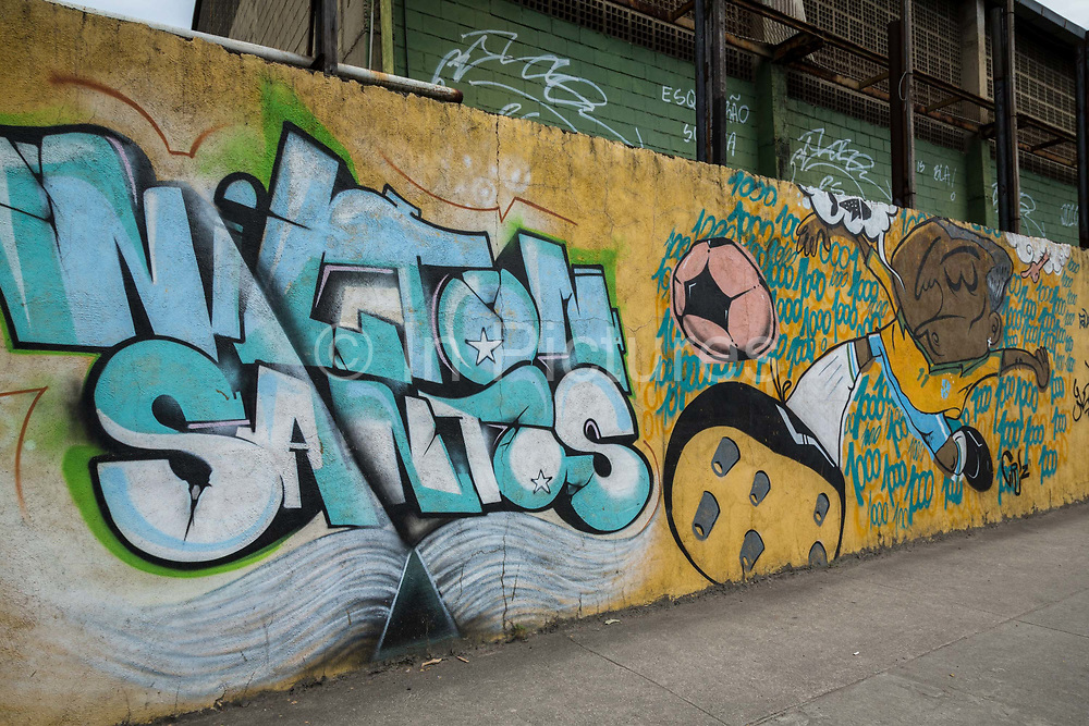 A mural close to the legendary Maracana stadium in Rio de Janeiro depicts some of Brazil's most illustrious footballing legends, such as Taffarell, the '94 Worl Cip golkeeper as well as other stars from the past campaigns, such as Nilton Santos the great Botafogo and National team defender.