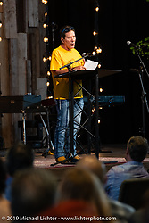 Arlen's good friend Mike Avila spoke before the large crowd at the Arlen Ness Memorial - Celebration of Life at the CrossWinds Church, Livermore, CA, USA. Saturday, April 27, 2019. Photography ©2019 Michael Lichter.