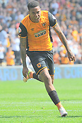 Hull City striker Abel Hernandez (9) Celebrates scoring goal to go 3-1 up during the Sky Bet Championship match between Hull City and Rotherham United at the KC Stadium, Kingston upon Hull, England on 7 May 2016. Photo by Ian Lyall.