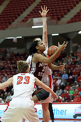 03 March 2013:  Christiana Shorter keeps her eye on the hoop as she squeezes between Megan Grace and Jamie Russell during an NCAA Missouri Valley Conference (MVC) women's basketball game between the Missouri State Bears and the Illinois Sate Redbirds at Redbird Arena in Normal IL