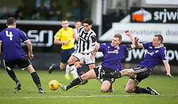 Dunfermline's Faissal El Bahktaoui, Ayr United's Nicky Devlin and Ayr United's Andy Graham. <br /> Dunfermline 3 v 2 Ayr United, Scottish League One played at East End Park, 13/2/2016.