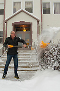 Photo Randy Vanderveen<br /> Grande Prairie, Alberta, Canada<br /> 2017-01-05<br /> Richard Friesen gets a work out as he clears snow from the south stairs of the Hillcrest Christian School building using a shovel Thursday morning. Proper shovelling techniques are important to prevent injuries to one's back.