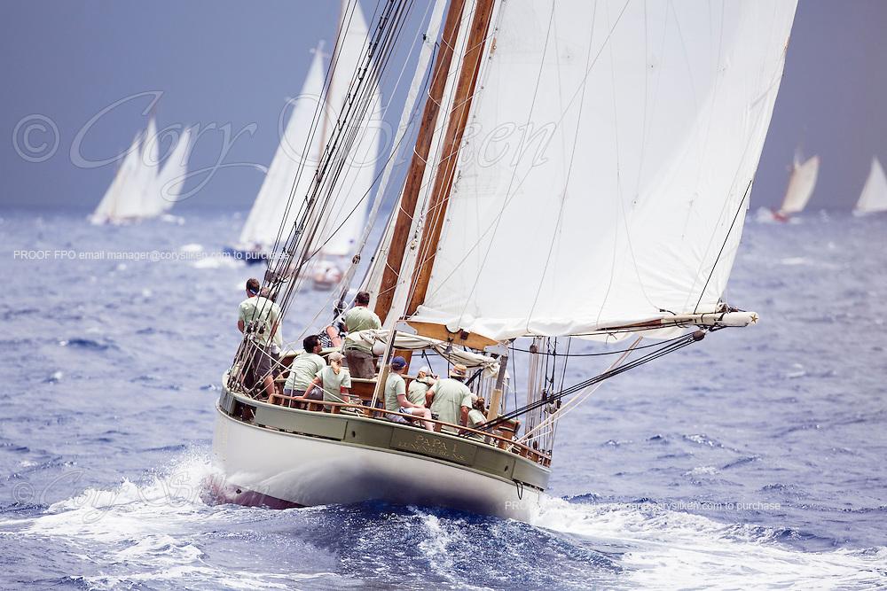 Papa 1 sailing in the Antigua Classic Yacht Regatta, Old Road Race.