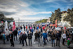 Spectators at trophy ceremony after the UCI Class 1.2 professional race 4th Grand Prix Izola, on February 26, 2017 in Izola / Isola, Slovenia. Photo by Vid Ponikvar / Sportida