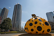'Pumpkin' (2012) made by japanese artist Yayoi Kusama, outside the National Art Centre, in Roppongi, Tokyo, Japan, on Sunday 25th March 2012. Exhibited as part of Roppongi Art Night 2012.