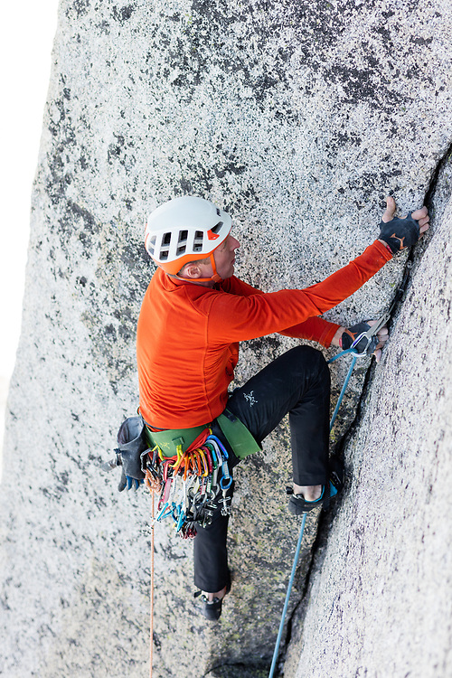 Jon Walsh leading the lower pitches of a new route on the Gar Wall in East Creek, Bugaboo Provincial Park, BC