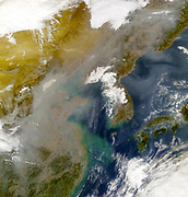 Korea and the Sea of Japan obscured by swirls of pollution in this image taken by the Sea-viewing Wide Field-of-view Sensor (SeaWiFS) on 23 November 2001. Credit NASA. Science Earth Geology