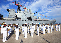 ZHANJIANG, Sept. 12, 2016 (Xinhua) -- A band of Chinese Navy perform at a welcome ceremony as a Russian fleet arrive at a port in Zhanjiang, south China's Guangdong Province, Sept. 12, 2016. A Russian fleet arrived in Zhanjiang on Monday, with Chinese naval forces gathering for a joint drill. The ''Joint Sea 2016'' drill will go ahead between September 12 and 19 in the South China Sea, off Guangdong. (Xinhua/Zha Chunming) (zhs) (Credit Image: © Zha Chunming/Xinhua via ZUMA Wire)