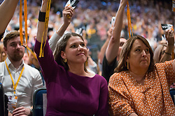 Bournemouth, UK. 15 September, 2019. Jo Swinson, Leader of the Liberal Democrats, votes for the Stop Brexit motion during the Liberal Democrat Autumn Conference. Following a vote won by an overwhelming majority, the Liberal Democrats pledged to cancel Brexit if they win power at the next general election. This marks a shift in policy from their previous backing for a People's Vote. Credit: Mark Kerrison/Alamy Live News