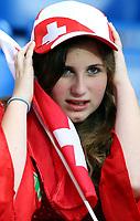 GEPA-1106086003 - BASEL,SCHWEIZ,11.JUN.08 - FUSSBALL - UEFA Europameisterschaft, EURO 2008, Schweiz vs Tuerkei, SUI vs TUR, Vorberichte. Bild zeigt einen Fan der Schweiz.<br />Foto: GEPA pictures/ Philipp Schalber