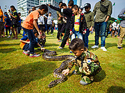 """13 JANUARY 2018 - BANGKOK, THAILAND:        A Thai boy plays with a python snake during Children's Day activities at the Royal Thai Army's King's Guard 2nd Cavalry Camp in central Bangkok. Children's Day is called """"Wan Dek"""" in Thai. Many government offices and military bases hold special activities for children as do shopping malls.   PHOTO BY JACK KURTZ"""