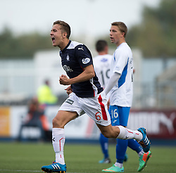 Falkirk's Will Vaulks celebrates after scoring Queen of the South's Chris Higgins scores an own goal.<br /> Falkirk 1 v 1 Queen of the South, Scottish Championship game played today at The Falkirk Stadium.