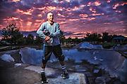 USA, Oregon, Eugene, skater in a skate park., MR