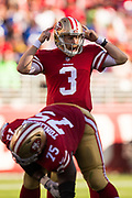 San Francisco 49ers quarterback C.J. Beathard (3) calls out a play during a NFL game against the New York Giants at Levi's Stadium in Santa Clara, Calif., on November 12, 2017. (Stan Olszewski/Special to S.F. Examiner)
