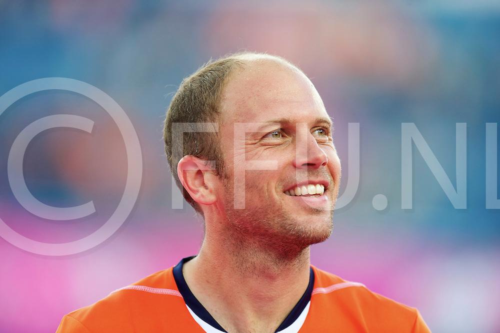 LONDON - Olympische Spelen 2012.men .match: Netherlands v Germany 3-1.foto: Teun de Nooijer 450 caps, stralend na de gewonnen wedstrijd tegen Duitsland.FFU PRESS AGENCY COPYRIGHT FRANK UIJLENBROEK.