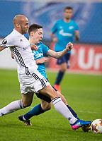 ST PETERSBURG, RUSSIA - OCTOBER 19, 2017. UEFA Europa League group stage: Zenit St Petersburg (Russia) 3 – 1 Rosenborg BK (Norway). Rosenborg's Tore Roginiussen (L) against Zenit St Petersburg's Daler Kuzyaev (R).