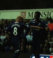 Photo: Tony Oudot.<br /> Tottenham Hotspur v Everton. The Barclays Premiership. 14/08/2007.<br /> Joleon Lescott celebrates his goal for Everton with Andy Johnson