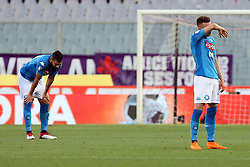 April 29, 2018 - Florence, Florence, Italy - 29th April 2018, Stadio Artemio Franchi, Florence, Italy; Serie A Football, Fiorentina versus Napoli; (L-R) Raul Albiol and Piotr Zielinski leave the pitch dejected after losing their match 3-0 against Fiorentina  Credit: Giampiero Sposito/Pacific Press (Credit Image: © Giampiero Sposito/Pacific Press via ZUMA Wire)