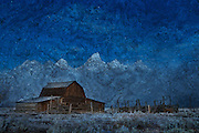 Historic barn photography in Jackson Hole with artistic effects such as textures and painted effects.